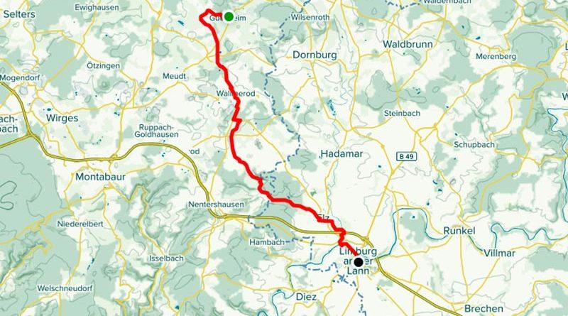 Fahrradstrecke Guckheim bis Limbur GPS